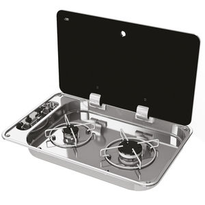 gas stove / for boats / two-burner / with glass lid