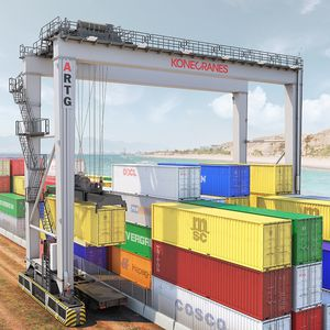 rubber-tired container stacking crane / automatic