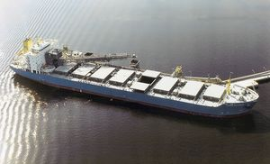 mechanical self-loading and unloading system for bulk carriers