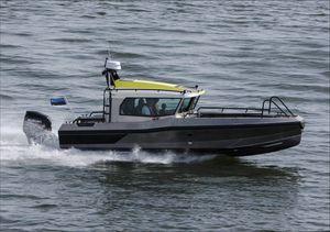 outboard center console boat / center console / wheelhouse / aluminum
