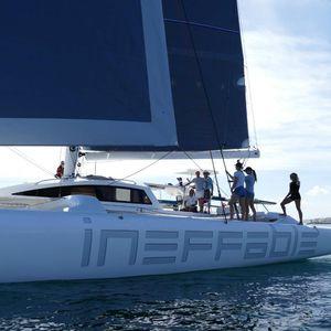 trimaran sailing yacht / cruising / open transom / deck saloon