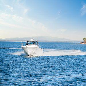 outboard day fishing boat / twin-engine / hard-top / fiberglass
