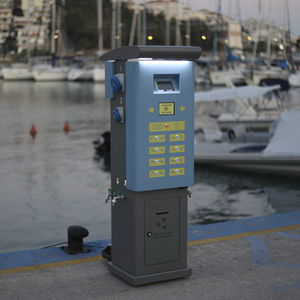 electrical distribution pedestal / water supply / for docks / stainless steel