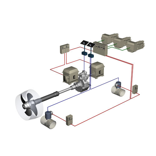 ship propulsion system / controllable-pitch propeller / shaft drive / diesel-electric hybrid