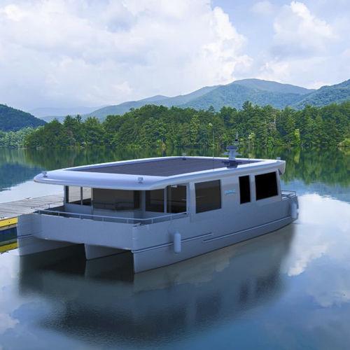 catamaran houseboat / inboard / electro solar / 2-cabin