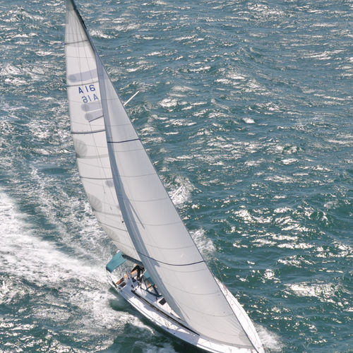 cruising sailing yacht / aluminum / with bowsprit / twin steering wheels