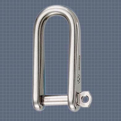 shackle for sailboats with captive pin / long / forged / stainless steel