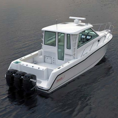 outboard walkaround / triple-engine / wheelhouse / sport-fishing