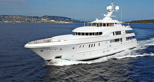 cruising luxury mega-yacht