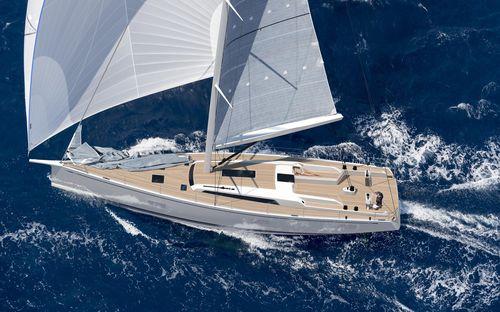 cruising sailing yacht / open transom / twin rudders / twin steering wheels