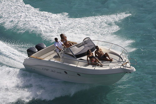 outboard walkaround / twin-engine / center console / 10-person max.