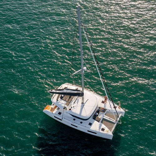 sailing catamaran / cruising / deck saloon / flybridge