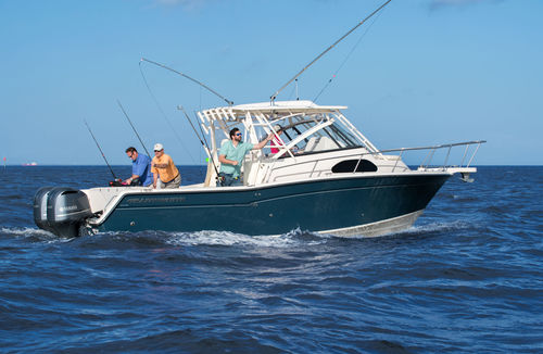 outboard walkaround / twin-engine / sport-fishing / with cabin