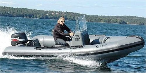 outboard inflatable boat / rigid / with jockey console / 8-person max.