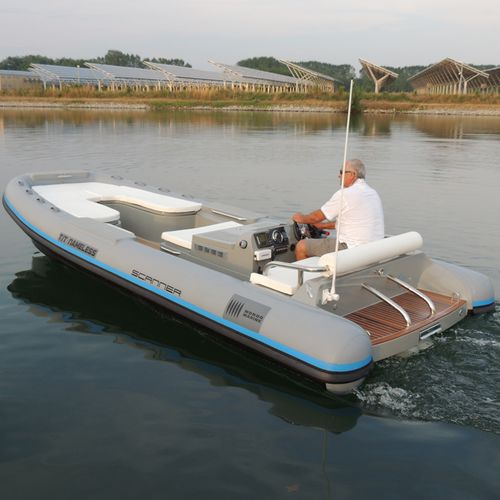 hydro-jet inflatable boat / diesel / rigid / side console