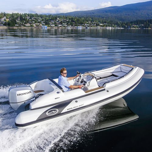 outboard inflatable boat / RIB / side console / fiberglass