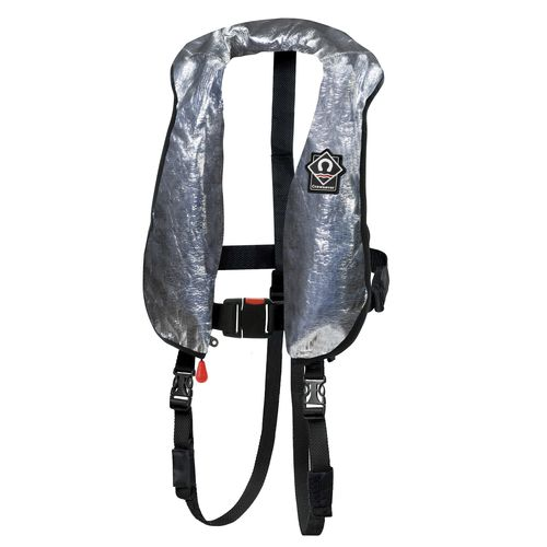 self-inflating life jacket / 290 N / with safety harness / fire-retardant