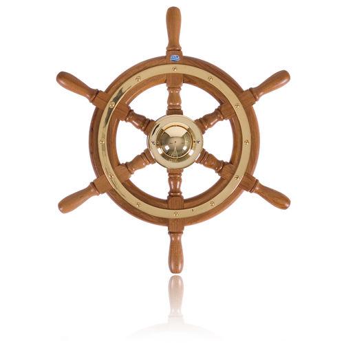teak power boat steering wheel / traditional