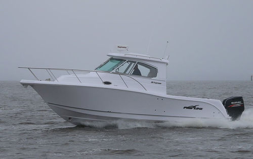 outboard express cruiser / twin-engine / hard-top / sport-fishing