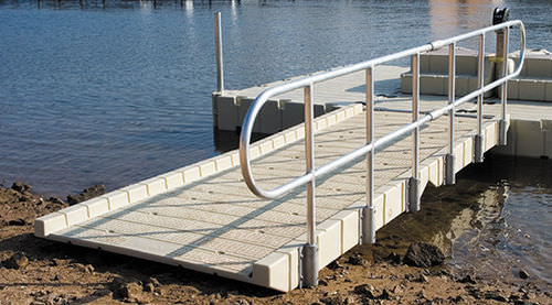 dock gangway / with handrails / polyethylene
