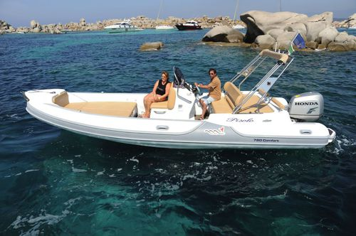 outboard inflatable boat / twin-engine / side console / 20-person max.