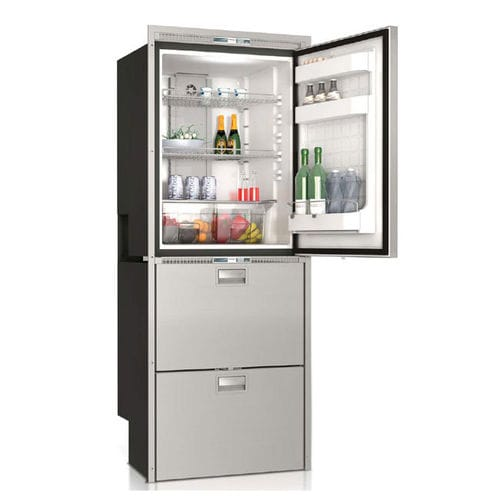 boat refrigerator-freezer / built-in / stainless steel / drawer