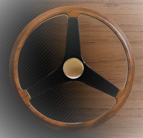 teak power boat steering wheel