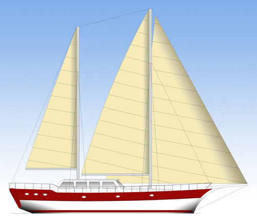cruising sailing yacht / with enclosed cockpit / ketch