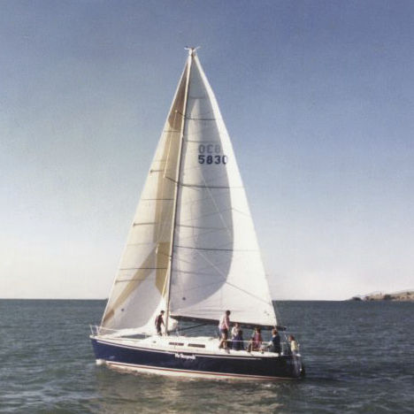 monohull / cruising / open transom / with bowsprit