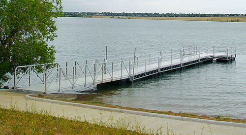 dock gangway / with handrails / aluminum
