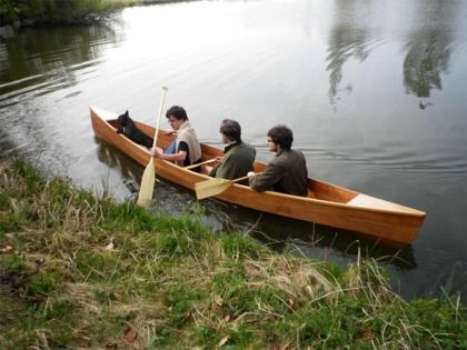 touring canoe / 3-person / wooden