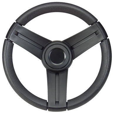 leather-covered power boat steering wheel