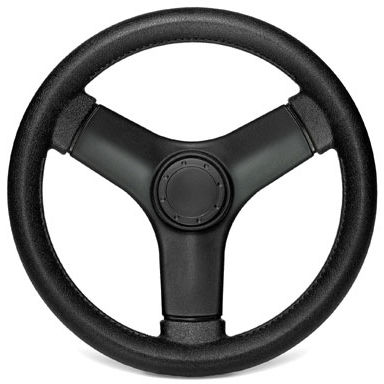 leather-covered power boat steering wheel / racing