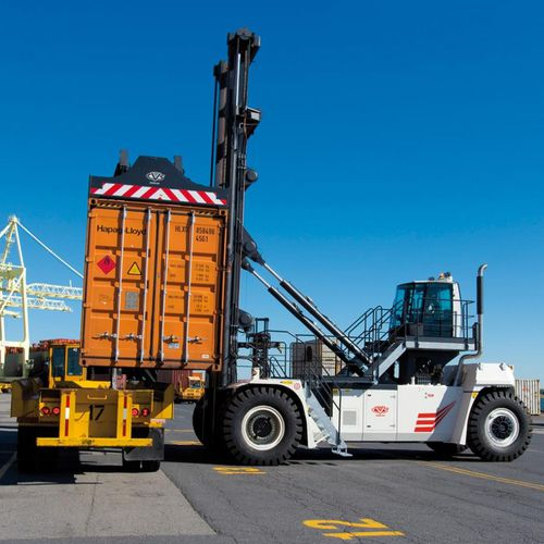 loaded container handler / with top-lift spreader