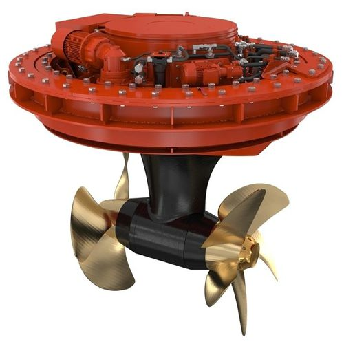 azimuth thruster / for ships / electric / twin counter-rotating propellers