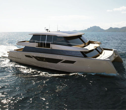 catamaran motor yacht / cruising / with enclosed flybridge / semi-custom