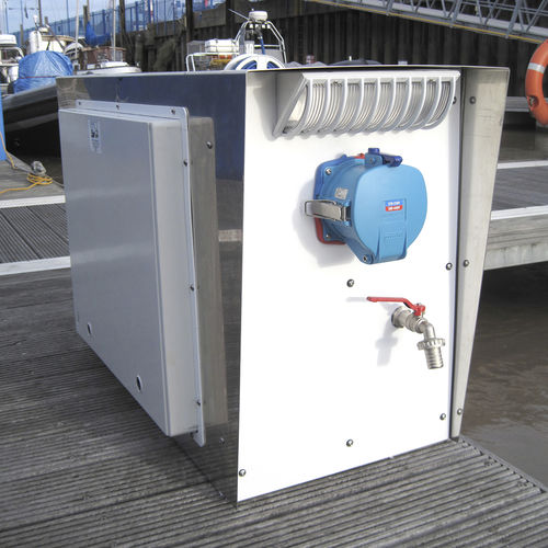 water supply pedestal / electrical distribution / for docks / with meter