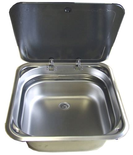 square sink / stainless steel / for boats / with glass lid