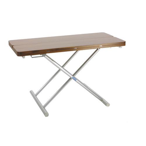 boat occasional table / adjustable / teak