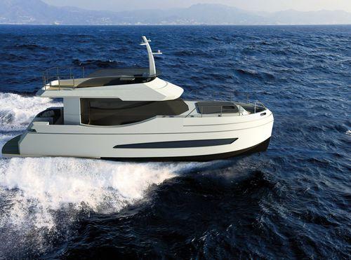 inboard express cruiser / hybrid / twin-engine / open