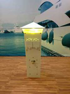 pedestal with built-in light / electrical distribution / for docks / stainless steel