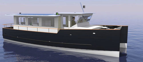 catamaran express cruiser / hydro-jet / outboard / diesel-electric hybrid with solar energy