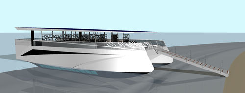 glass-bottom boat / multihull / diesel-electric hybrid