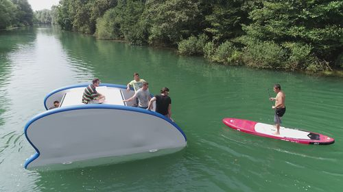 inflatable catamaran / outboard / electric / foldable