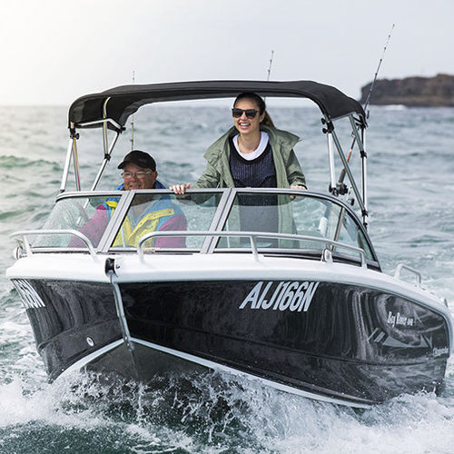 outboard runabout / dual-console / sport-fishing / 5-person max.