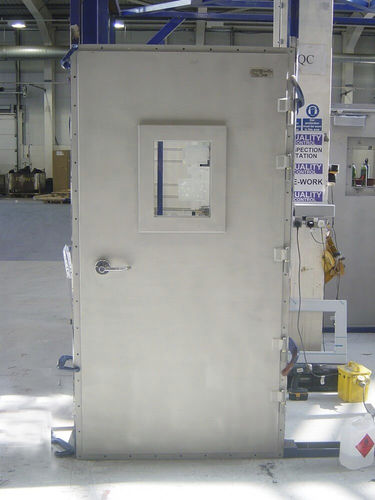 offshore platform door / weathertight / fireproof / stainless steel