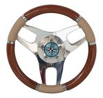 wooden power boat steering wheel / leather-covered / racing / classic