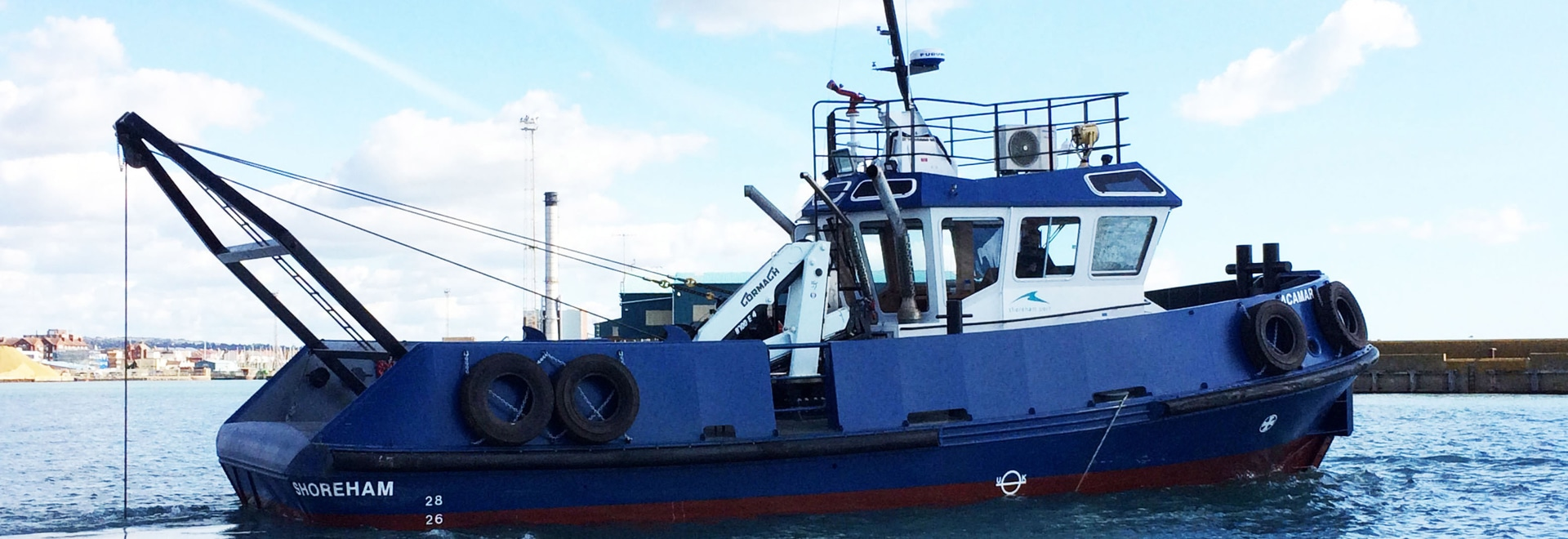 Acamar is a new a new 16 metre tug boat that was delivered to Shoreham last year