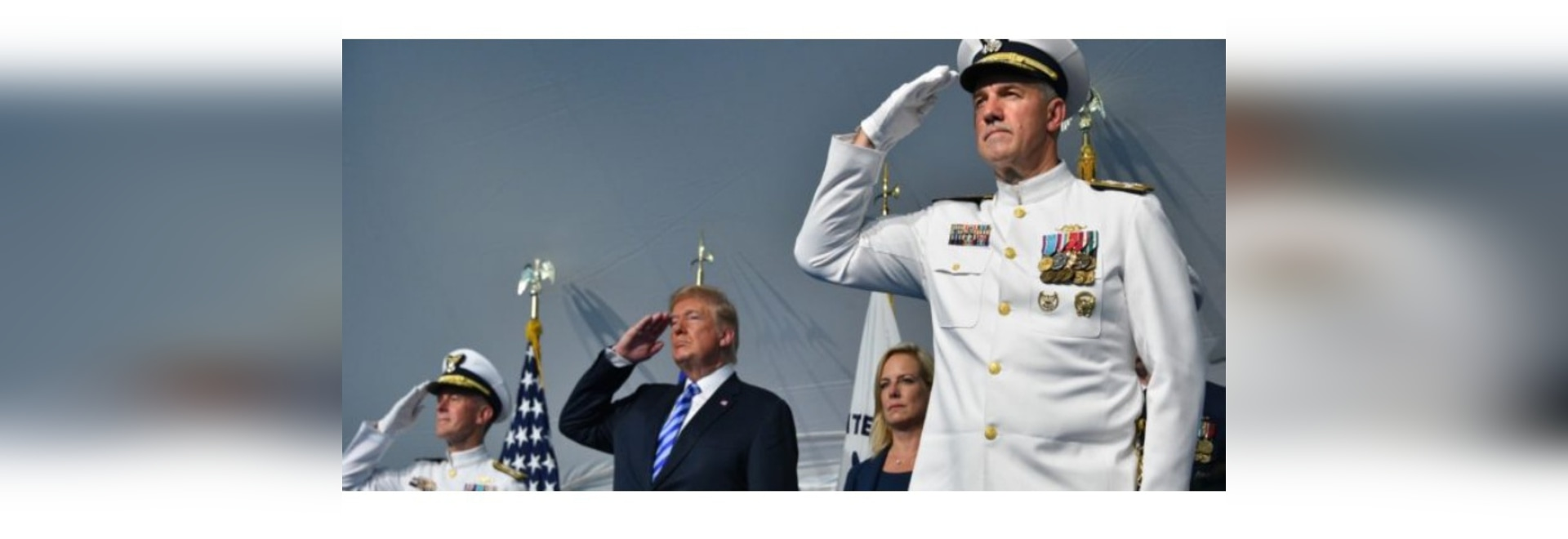Adm. Paul Zukunft (left), President Donald Trump, Department of Homeland Security Secretary Kirstjen Nielsen and Adm. Karl Schultz render honors during a change of command ceremony at Coast Guard H...