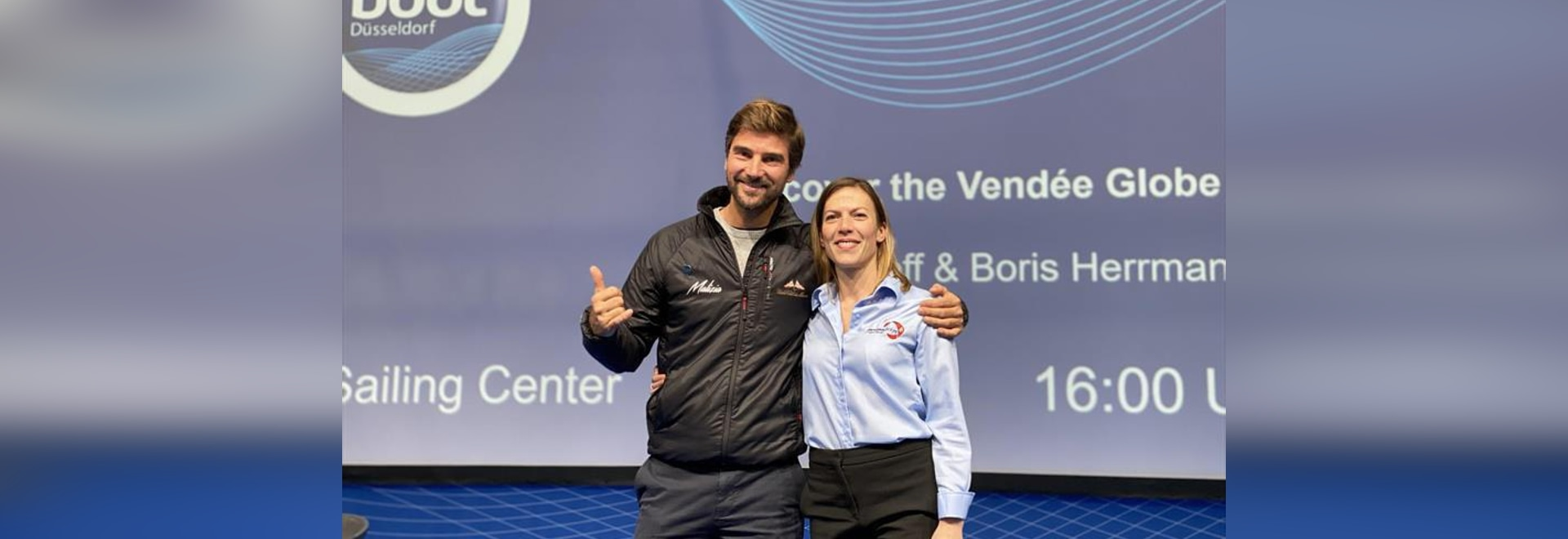 Boris Herrmann and Vendée Globe organization work together at the Dusseldorf Boot Boat Show